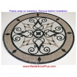 "KRISTINE CARRARA, 36"" Mosaic Floor Medallion - Honed"